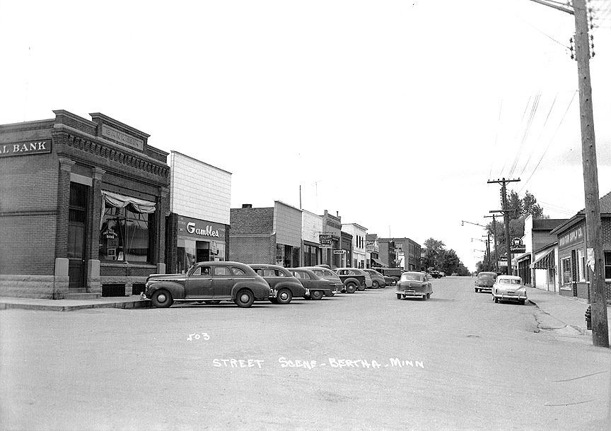 Mainstreet in Bertha, MN from 1904
