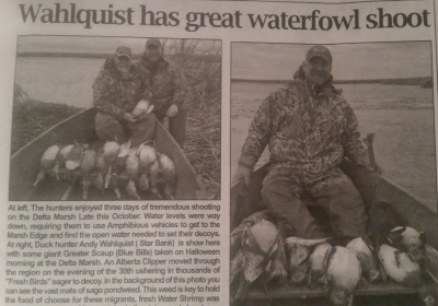 Article about Andy Wahlquist's successful waterfowl hunt.
