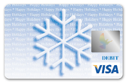 Snowflake themed Visa debit card