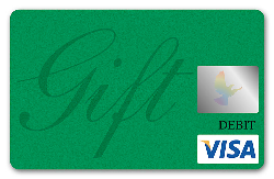 Green Visa debit card with the word gift written in cursive on it