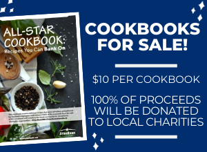 Cookbooks for Sale! $10 per cookbook. All proceeds will be donated to local charities.